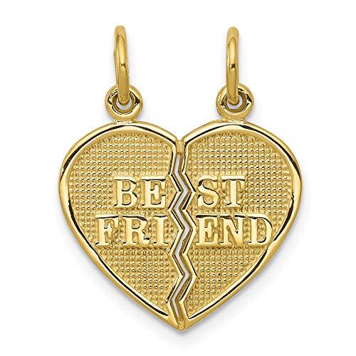 10k Yellow Gold Best Friends Bestfriend Friendship 2 Piece Break A Part Pendant Charm Necklace Break?apart Love Fine Jewelry For Women Gifts For Her