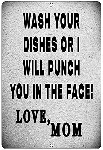 Rogue River Tactical Funny Kitchen Metal Tin Sign Wall Home Decor Bar Wash Your Dishes Signed product image