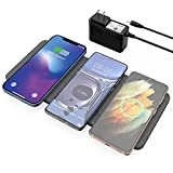 ZealSound Triple Wireless Charger,Qi-Certified Wireless Charging Pad,Ultra Slim Fast 3x10W Charger Station for Multiple 3 Devices & New Airpods Mat Dock W/AC Adapter for All Qi Enabled Phones
