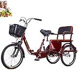 Triciclo para adultos de 20 pulgadas, bicicleta de 3 ruedas, plegable, de tres ruedas, de acero con alto contenido de carbono, doble cadena, bicicleta para montar humana, asiento trasero cómodo