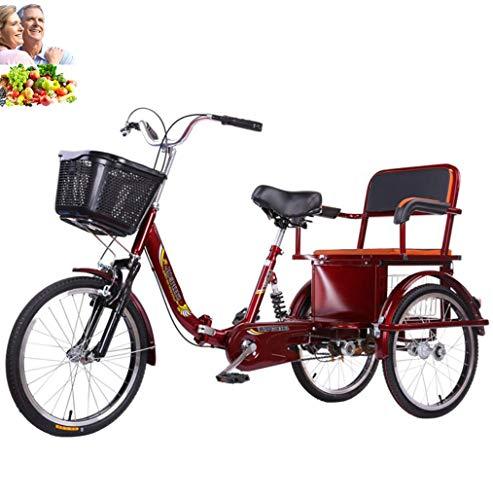 20 Pouces Tricycle Adulte vélo à 3 Roues Pliant à Trois Roues en Acier à Haute teneur en Carbone Double chaîne vélo d'équitation Humain siège arrière Confortable Plus Panier Panier Les Parents