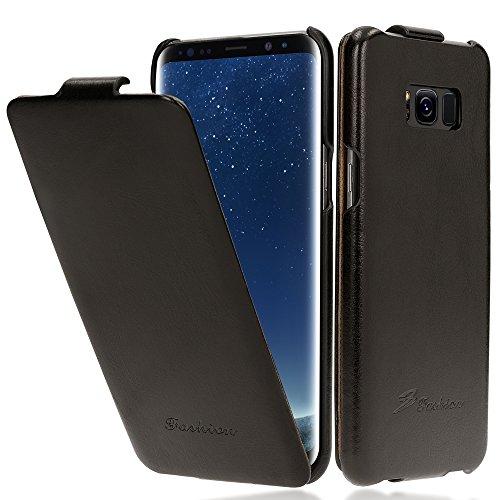 NALIA Flip Cover compatibile con Samsung Galaxy S8 Plus, Sottile Verticale Custodia Case Protettiva Ecopelle Vegan, Similpelle Protezione Telefono Cellulare Slim full-body Bumper, Colore:Nero