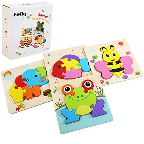 Afufu Juguetes Bebe, Juguetes Montessori, Puzzles de Madera Educativos para Bebé, Juguetes niños 1 año 2 3 4 5 6 años, Dibujo de Animal Colorido con Placa, Regalo de cumpleaños, Navidad