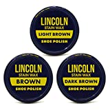 Lincoln Stain Wax Shoe Polish Variety Pack of Browns