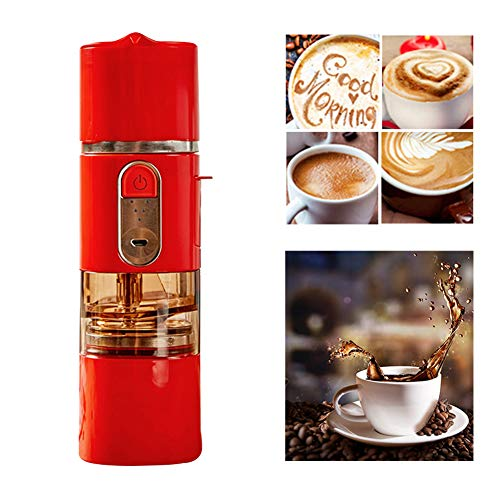 5-in-1 Household Fully Automatic Coffee Machine Portable Coffee maker Beans Grinder Electric Coffee Hand Punch Grinding One Cup Coffee Pot,Red