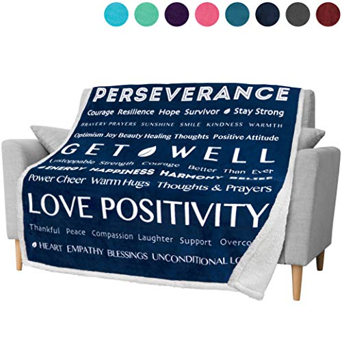 PAVILIA Healing Thoughts Blanket, Sherpa Fleece Throw for Women Men | Warm Hugs Inspirational Gift Positive Energy Prayer Blanket | Get Well Soon Gift Blanket for Friends & Family | 50 x 60 in (Navy)