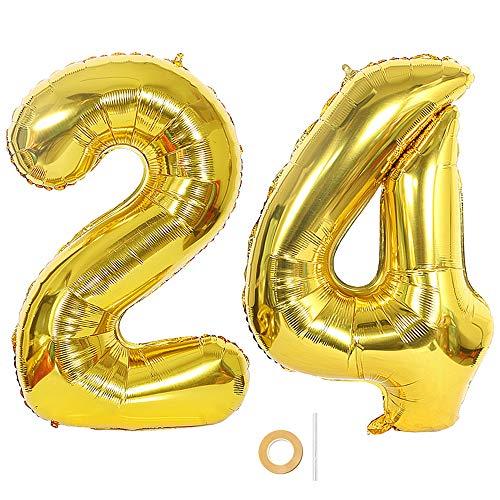 Ceqiny Globo de mylar 40 pulgadas con número 24 globo gigante globo papel aluminio para fiesta de cumpleaños boda despedida soltera compromiso decoración de aniversario, globo dorado de 24 dígitos