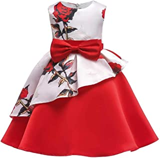 SEASHORE Girls 3-9 Years Bowknot Princess Dress Satin Flower Girl Wedding Costume Piano Performance Clothing (Color : Red, Size : 8-9Years)