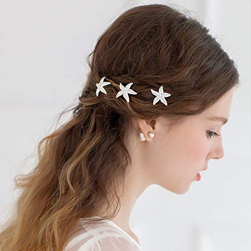 Aluinn Starfish Hairpin Set Silver Rhinestones Bridal Accessory Delicate Hair Accessories Jewelry for Women and Girls Bridesmaid Gift Packed3