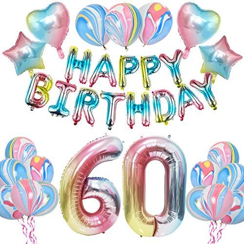 KUNGYO Regenbogen60 GeburtstagPartyDekorationen - Frauen GeburtstagParty Lieferungen Umfassen Happy Birthday Ballon Banner, Riese Nummer 60 VereitelnBallon,RegenbogenStar und Herz Ballon 28PCS