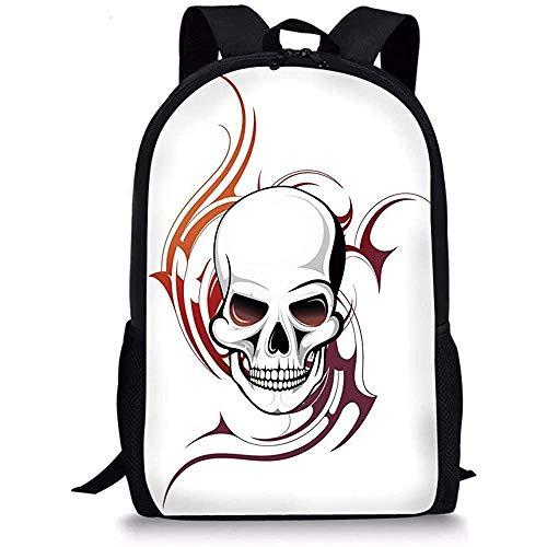 Hui-Shop Schultaschen Tattoo Dekor, Scary Fierce und Wild Skull mit roten Flammen Tribal Artistic Tattoo Image, Rot und Weiß für Jungen Mädchen