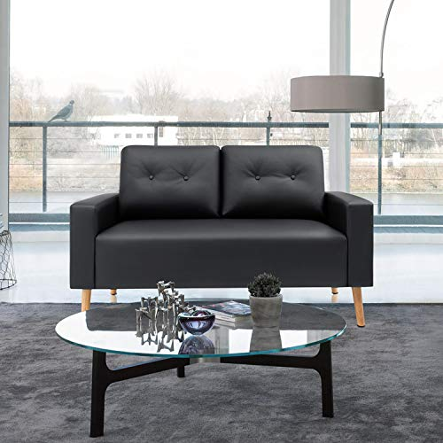 VICTONE Mid Century Loveseat Modern Couch for Living Room PU Leather Sofa with Solid Wood Frame (Black)