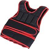 HOMCOM Gilet lesté réglable Veste lestée 15 Kg Max. Poids Amovibles Entrainement Musculation Exercice Boxe Oxford Noir Rouge