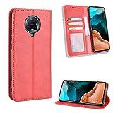 Étui magnétique de couleur unie pour téléphone portable Xiaomi Poco F2 Pro F2Pro Redmi K 30 K30 Pro K30Pro en cuir avec emplacements pour cartes rétro Rouge