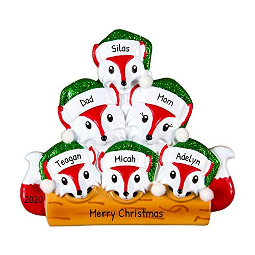 Personalized Red Fox Family of 6 Christmas Tree Ornament 2020 - Parent Children Glitter Green Hat on Wood Log Winter Eve Holiday Kid Grand Gift Tradition Together Year - Free Customization (Six)