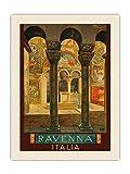 Pacifica Island Art Póster de viaje vintage de Ravenna Italia (Italia), de Osvaldo Ballerio c.1920s - Lienzo orgánico RAW (45,7 x 60,9 cm)