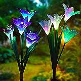 Swonuk Lámpara Solar para Jardín al Aire Libre, 2PCS 8 Flor del Lirios Lámpara, Multicolor Luces Decorativas para Jardín, Patio, Camino, Navideña, Fiesta de Cumpleaños de Boda (Blanco y Morado)
