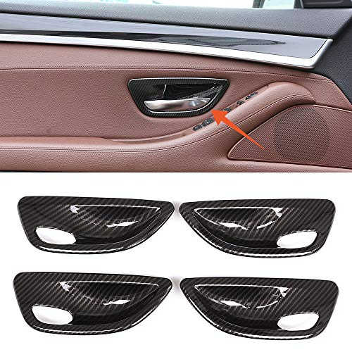 YUECHI for BMW 5 Series F10 520 528 525 2011-2017 Carbon Fiber Style Car Interior Door Handle Bowl Cover Trim