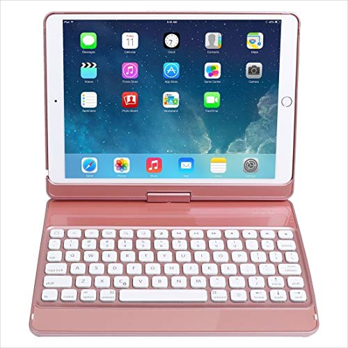XUAILI Tablet Keyboard Case 360-degree Rotating Seven-color Backlit Bluetooth Keyboard Leather Case, for IPad 10.2/iPad Air 3 10.5/iPad Pro 10.5 (Color : Rose Gold)