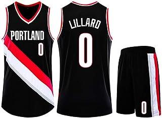 Jersey Set Portland Trail Blazers 0# Damian Lillard Basketball Jersey Sleeveless Vest Sports Shorts Sweatshirt Men's Fitness Competition Casual Set,Black,2XS