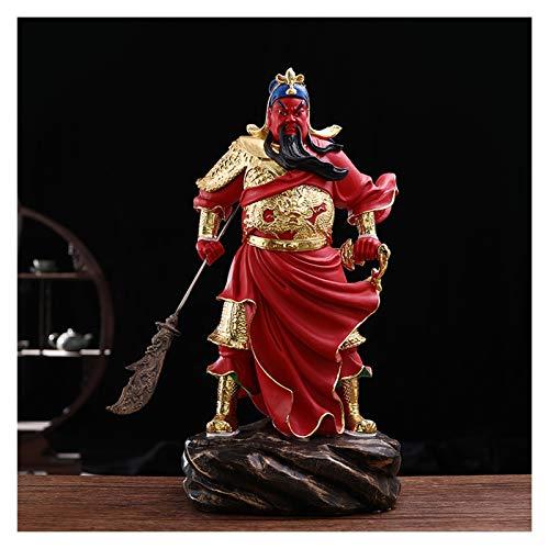 Escultura Feng Shui Lifelike Guan Gong Dios de la Estatua de la Riqueza Túnica Verde/Roba Roja Guan Yu Feng Shui Decor Decoración Inicio Oficina Decoración Adornos Tabletop Ornamentos Buena Lucky R