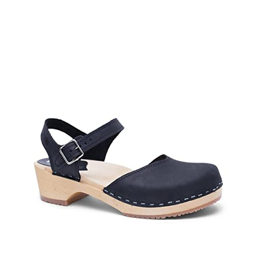 1b2d45b00 Sandgrens Swedish Wooden Low Heel Clog Sandals for Women