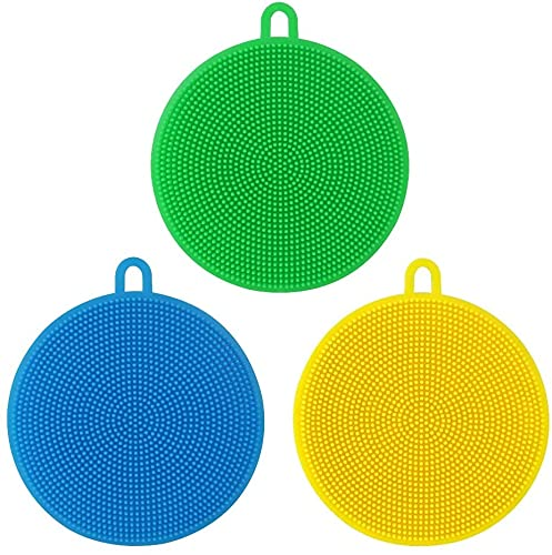 3Pcs Silicone Sponge Dish Washing Kitchen Scrubber - Sponges for Cleaning Dishes Non Stick Cleaning Kitchen Gadgets (Random Color )