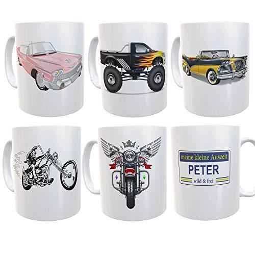 Tasse mit Name | kleine Auszeit | Fahrzeuge | Kaffeebecher personalisiert