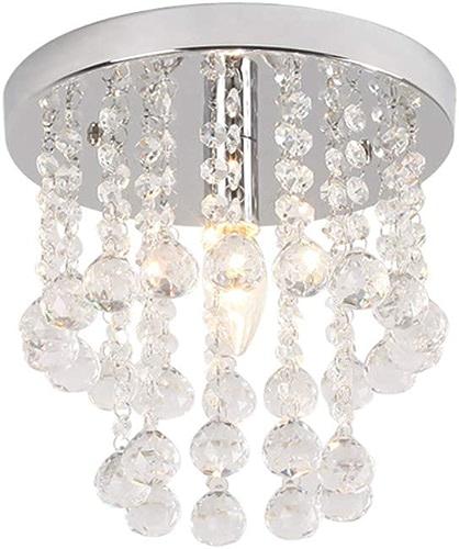XTF-lumièreS LED Lustre en Cristal Moderne élégant Rond Lustre Plafonnier Cristal Goutte Salon Chambre Couloir Lustre E12 Crystal chandelier-25cm