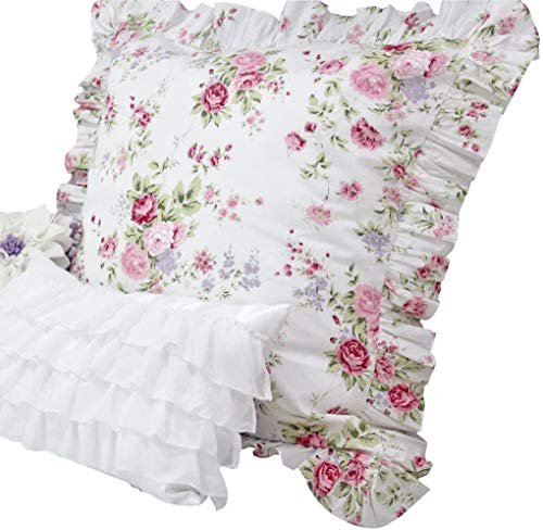 Queen's House 2-Piece Floral Shams Euro Size Pillow Covers-C