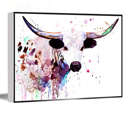 Arts And Crafts,Canvas Wall Art,Longhorn watercolor painting print animal art,illustration,wall art,home decor,gift,Giclee Print,Cow,farm,16''x24'' Framed Modern Canvas Wall Art,