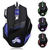 STRIR X8 5500 DPI Ratón Gaming, LED USB Óptico con 7 Botón Ratones alta precisión Wired Mouse ratón para PC Mac Notebook Ordenador Portátil