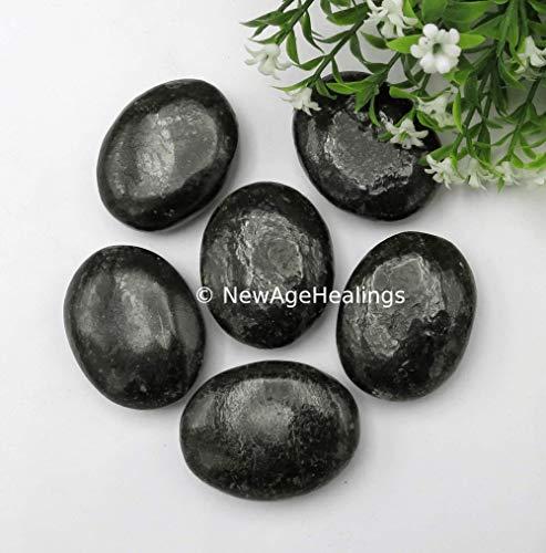 Amazing Gemstone Nuummite Palm Stone - Pocket Massage Worry Stone for Natural Body Chakra Balancing, Reiki Healing and Crystal Grid