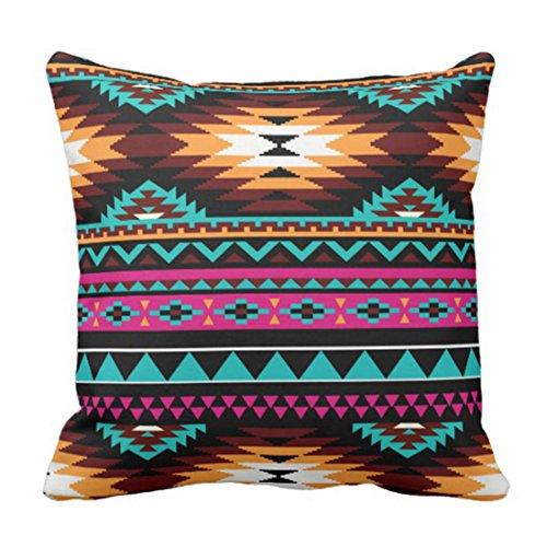 ZQLXD Funda de almohada azteca Southwest nativo turquesa rosa marrón occidental decoración decoración del hogar cuadrado 40,6 x 40,6 cm