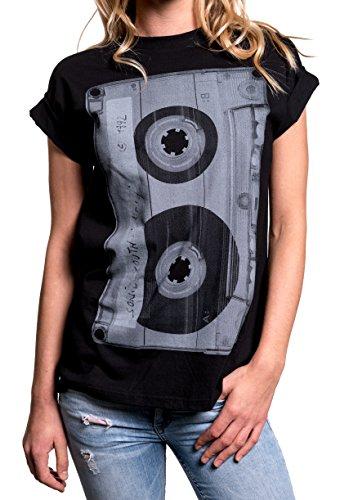 MAKAYA Top Corte Americano Manga Corta - Musica - Camiseta Talla Grande Estilo Oversize para Mujer Negro L