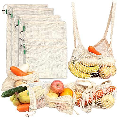 AivaToba Verduras Sacos Producir Bolsas Malla Algodón Reutilizable Lavable Red Muselina Bolsas ecológicas con cordón para Alimentos de Frutas,8 Paquetes