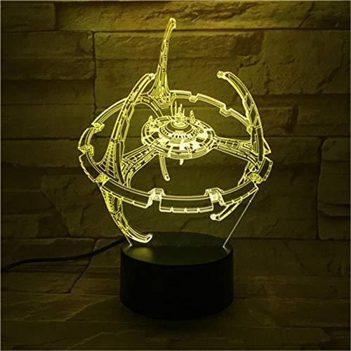 Luz de noche LED de ilusión 3D, interruptor táctil de conversión 7 colores Lámpara de escritorio USB para Navidad o decoraciones casa Control remoto de modelado de estrellas