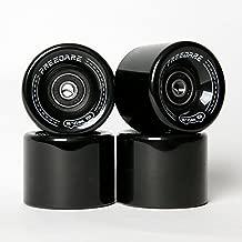 FREEDARE Skateboard Wheels 60mm 83a with Bearings and Spacers Cruiser Wheels (Black,Pack of 4)