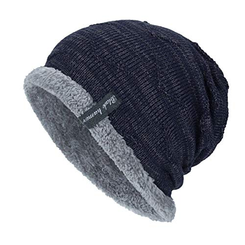 Winter Hats for Men Scarf Knitted Hat Women Male Gorras Warm Soft Neck Balaclava Bonnet Beanie Hat Cap (Color : Navy)