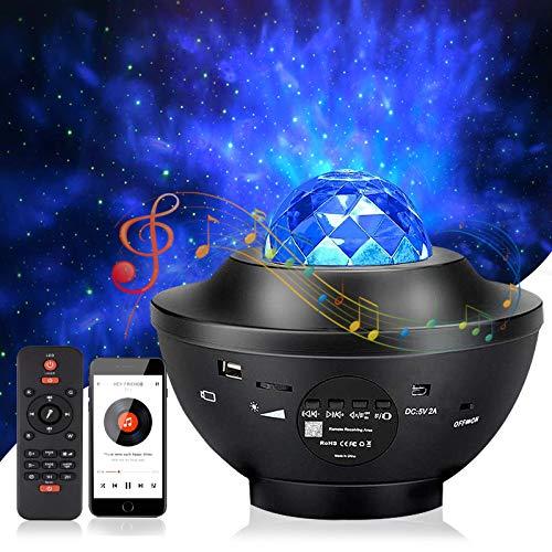 LED Sternenhimmel Projektor, mixigoo Rotierende Wasserwellen Nachtlichter Ozeanwellen Galaxy Projektor mit Fernbedienung/Bluetooth/Timer Starry Projector Light für Dekoration Kinder Erwachsene Zimmer