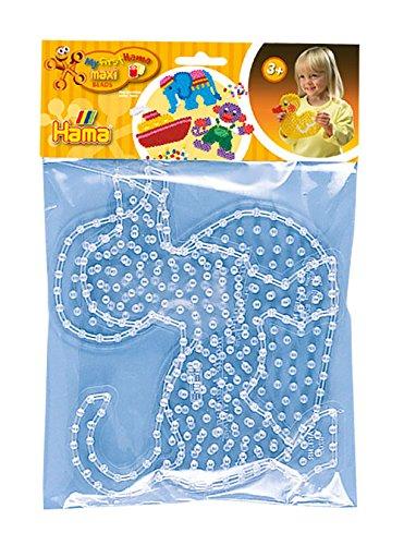 Hama Perlen 8252 Stiftplatten 2er Set für Maxi Bügelperlen mit Durchmesser 10 mm, Motive Hund und Ente in transparent, kreativer Bastelspaß für Groß und Klein