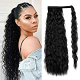 SLTY 22 Inch Long Corn Wave Ponytail Extension Magic Paste Heat Resistant Wavy Synthetic Wrap Around Ponytail Dark Black Hairpiece for Women