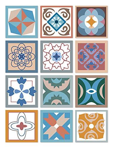 Panorama Azulejos Adhesivos Cocina Baño Pack de 8 Cenefas de Baldosas de 100x10cm Diseño Hidráulico Multicolor - Vinilos Cocina Azulejos - Revestimiento de Paredes - Cenefas Azulejos Adhesivas