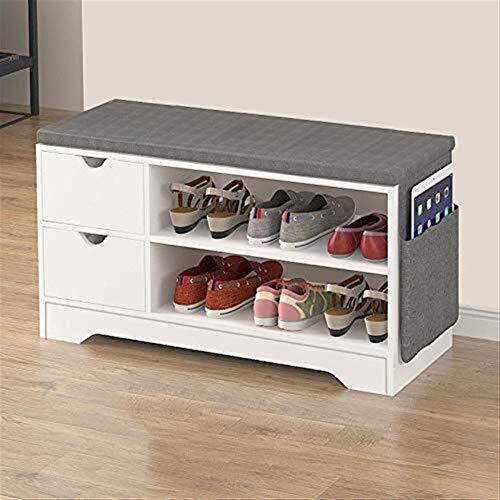 Schoenenrek Bench Storage 2 dieren 2 lade 44,2 x 30 x 80 cm, witte schoenenkast met zitting en grijs kussen gang slaapkamer woonkamermeubel (kleur: eiken, maat: 1 lade) 2 drawer wit