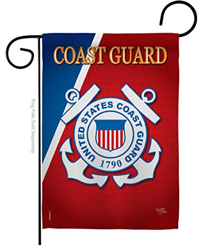 Breeze Decor US Coast Guard Garden Flag USCG Semper Paratus Armed Forces Officially Licensed United State American Military Veteran Retire Decorative, 13'x 18.5', Thick Fabric