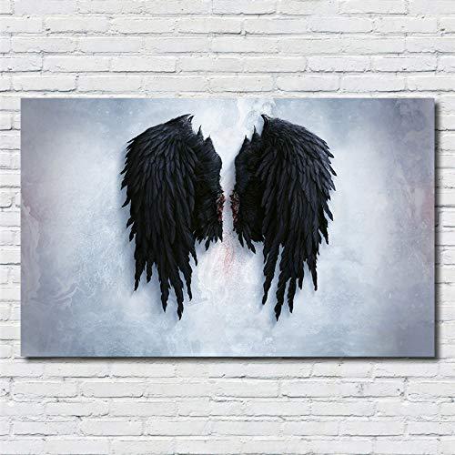 SDFSD Kreative Wandkunst Poster Traurig Schwarze Flügel Engel Tierschutz Wohnzimmer Schlafzimmer Wohnkultur Kinderzimmer Leinwand Malerei 40 * 70cm A.