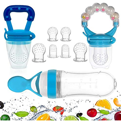 Gedebey Baby Food Feeder, Pacifier Fruit- Fresh Silicone Bottle Squeeze Spoon Frozen Fruit Pacifiers Nibbler Cover Newborn with Meshes Sizes for Baby Food Spoon (Blue)