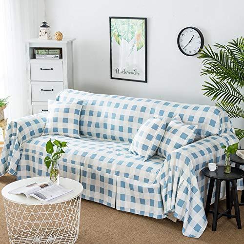 Vguyfuyh Slipcover sofa-sets, all-inclusief, universele volledige afdekking, eenvoudige doek, sofa-afdekking, voor vier seizoenen Ein blaues Gitter Breit (160 30) * Lang Mehr Als 380 Person Pos