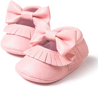 SOFMUO Baby Moccasins - Infant Boys Girls Soft Soled Bowknot Tassels Slippers Toddler First Walker Shoes