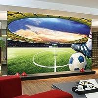 QQYYYT ウォールアートポスター-壁紙壁画モダン3Dグリーンフットボールフィールド大壁画研究室リビングルーム寝室ポスター壁装飾絵画